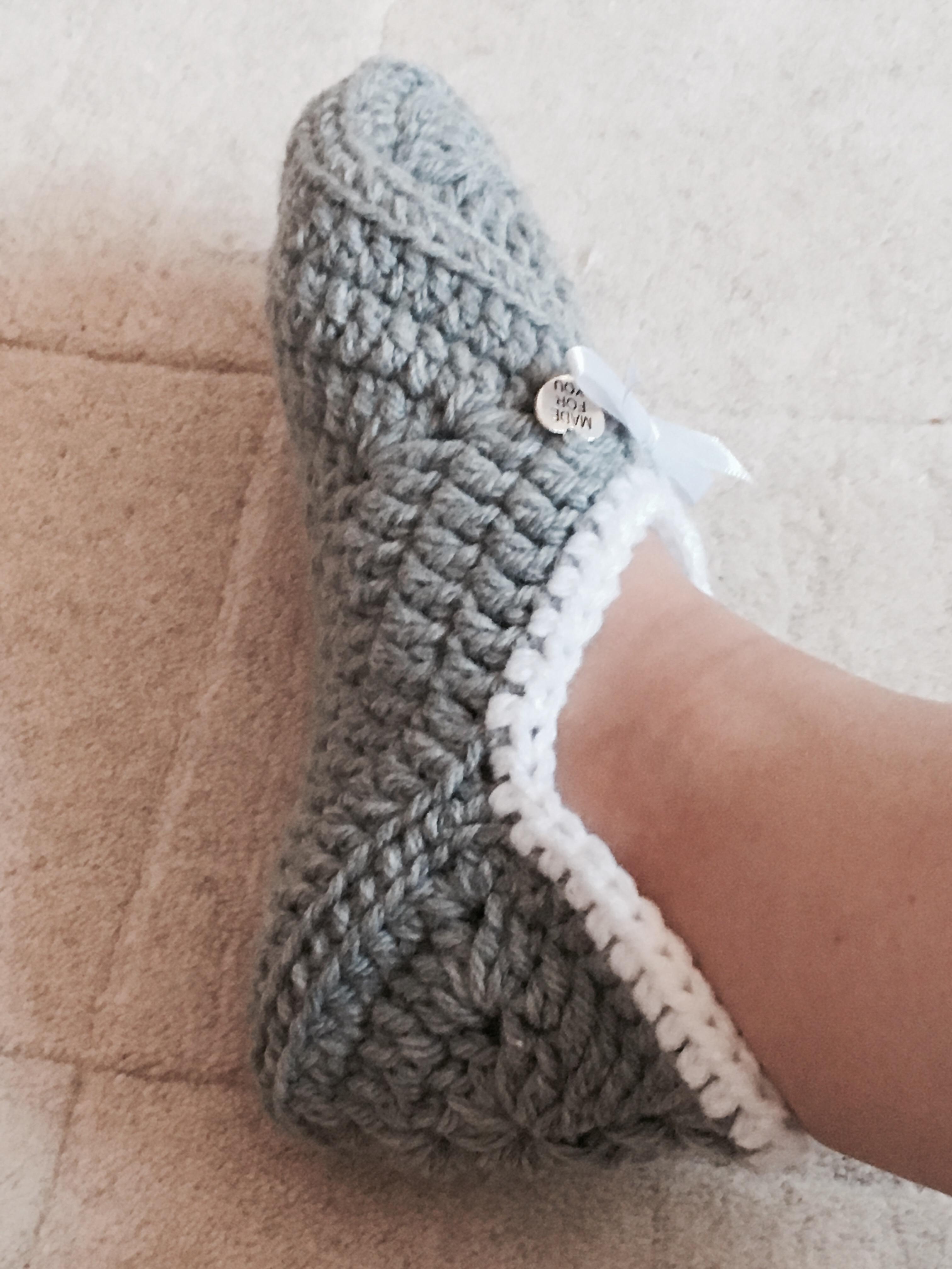 Crocheted handmade soft warm slippers, diy